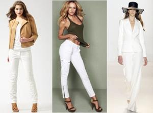 Co założyć do białych spodni?